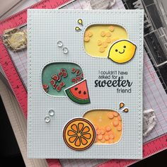 Sunny Studio Stamps: Fresh & Fruity Customer Card by Kumiko Hata Mom Cards, Cute Cards, Handmade Birthday Cards, Greeting Cards Handmade, Birthday Card Drawing, Tarjetas Diy, Paper Crafts Origami, Creative Cards, Homemade Cards