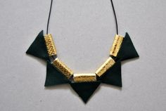 Minimalist Necklace-Leather Necklace Geometric by UNAsiUNA on Etsy