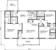 3 bedroom ranch floor plans first floor plan of ranch house plan 45272 - Rectangle House Plans