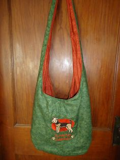 """Embroidered """"I Love my Airedale"""" Hobo Bag with 2 Pockets and a Magnetic Snap Closure by Marshaslilcraftpatch on Etsy"""