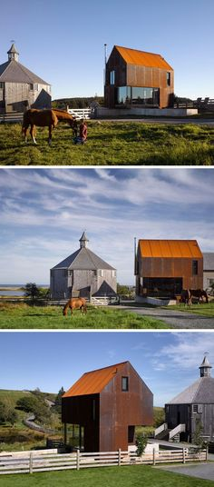 Weathering steel covering the exterior of this house gives it a modern look that contrasts the traditional octagonal barn beside it and helps it withstand the elements over the years.