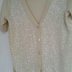Dress cardigan NEVER WORN!! Front opal sequin half sleeve Talbot cardigan Sweaters Cardigans