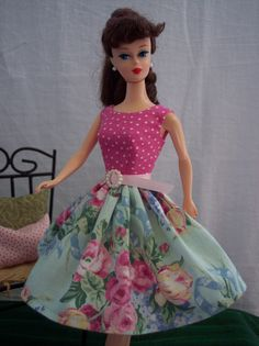 Handmade Vintage Barbie Doll Clothes by Brenda Pink Polka Dot Chic Floral Dress | eBay