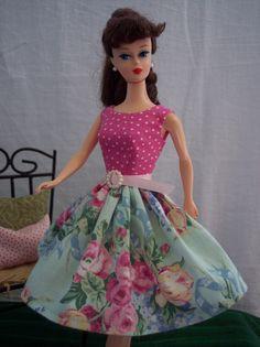 Handmade Vintage Barbie Doll Clothes by Brenda Pink Polka Dot Chic Floral Dress | eBay