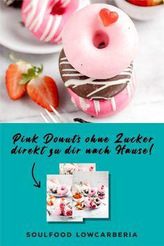 3er Donut Box ohne Zucker ohne Mehl, aber so lecker!! Ab sofort gibt es diese Box für dich Zuhause. Heute bestellt, morgen verschickt <3 #lowcarbdonuts #ketodonuts #donutsohnezucker #valentinesdonuts Low Carb Restaurants, Ab Sofort, Low Carb Desserts, Coleslaw, Lchf, Doughnut, Donuts, Brownies, Box