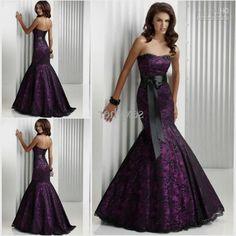 Purple and black Wedding Dresses | Purple And Black Wedding Dresses Black Lace Mermaid Prom Dress Black ...