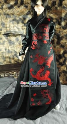 Ancient Chinese Black Dragon Costume for Men