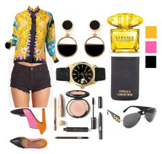 """""""versace on the floor"""" by denise-escalante-manrique on Polyvore featuring Billabong, Versace, Warehouse y Rolex"""