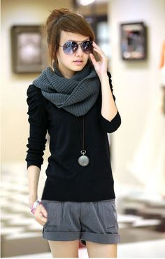 Fashionable Puff Sleeve Solid Women Pullover Sweater