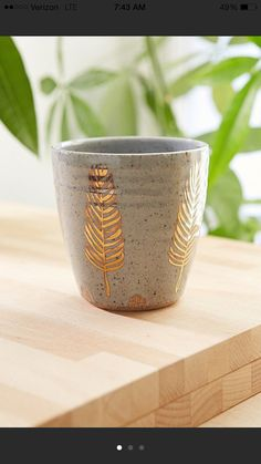gold feather tumbler by picklepottery on Etsy