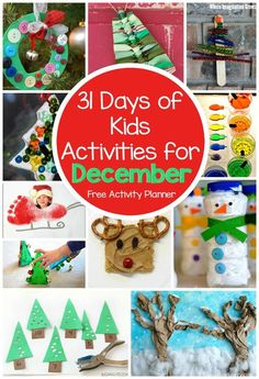 31 Days of Fun Kids Activities for December! Christmas & winter themed crafts & activities! Free activity calendar for busy families, teachers, and daycare providers
