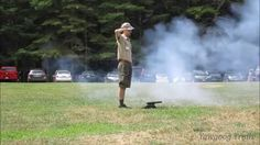Video: A ceremonial cannon is used at the start of the national anthem at the Sunday Dress Parade at Camp Yawgoog. The cannon is usually fired in the forest behind the field, but it is used in the open during the last parade of the season. Fired by Yawgoog staffer Matt Abatuno.  Recorded at Tim O'Neil Field by David R. Brierley on August 23, 2015.