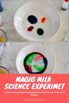 Magic Milk Science Experiment - you can do this experiment in 5 minutes with just a few simple supplies you already have Milk Science Experiment, At Home Science Experiments, Cool Science Experiments, Stem Science, Science Projects, Science Ideas, Rube Goldberg, Stem Skills, Math Activities For Kids