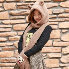 Thickening hat scarf and gloves with bear ear ring scarf cashmere for girl young people Bear Ears, Cashmere Scarf, Young People, Scarf Styles, Winter Hats, Gloves, Turtle Neck, Women's Fashion, Ring