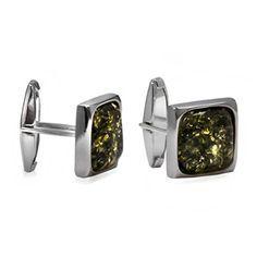 Green Amber Sterling Silver Square Medium Men's Cuff Links  Price Β£38