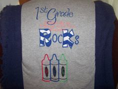 Joann used our Crayon Monogram Applique on this school shirt