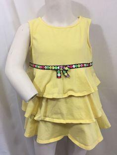 5bdac6f086c Gymboree Yellow Ruffle Tank Dress Polka Dot Belt Bow Spring Summer Party Girls  5