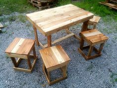 Pallet Dining Table and Stool Set - 130+ Inspired Wood Pallet Projects | 101 Pallet Ideas - Part 5