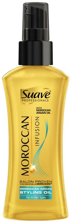 Suave Moroccan Infusion:  Moroccan Infusion's weightless Moroccan Argan Styling Oil is specially designed to dramatically revive hair. The ultra-light formula instantly conditions without weighing hair down, smoothing the cuticle for long lasting, silky shine.