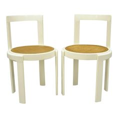 Mid Century Modern Italian Thonet Round White Cane Seat Side Chairs- A Pair | Chairish