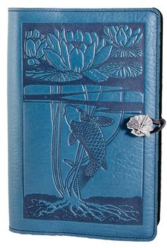 Leather Refillable Journal Water Lily Koi 2 Sizes | 3 Colors