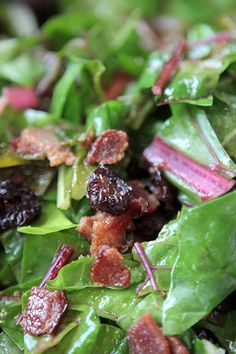 Wilted Swiss Chard with Cranberries  & Bacon: Prep Time: 10 Minutes Cook Time: 15 Minutes Makes: 4 Servings