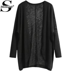 Cheap Sheinside Loose Woman Casual suéteres de moda frente abierto diseñadores 2015 punto de manga larga negro Cardigan tejido de punto, Compro Calidad Chaquetas directamente de los surtidores de China:                                             Hombro (cm)  Busto (cm)  Tamaño Ci