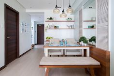 This Beach-Inspired Condo in Mandaluyong Feels Like Summer Everyday Condo Living, Small Living Rooms, My Living Room, Mismatched Dining Chairs, Wooden Dining Tables, Living Room Ideas Philippines, Condo Interior Design, Galley Kitchen Design, Compact House