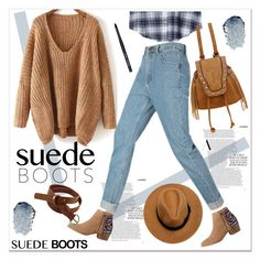 """Style Staple: Suede Boots"" by paculi ❤ liked on Polyvore featuring HOWSTY, Bobbi Brown Cosmetics and suedeboots"