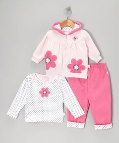 Pink Polka Dot Flower Zip-Up Hoodie Set | Daily deals for moms, babies and kids