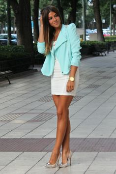 Mint jacket over white dress, awesome silver toe pumps