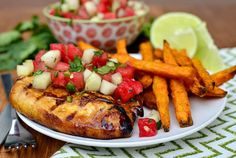 Gluten-free Marinated Grilled Chicken with Cucumber-Watermelon Salsa uses an easy chicken and steak marinade that you'll use all summer long. Serve with refreshing Cucumber-Watermelon Salsa on top! Grilling Recipes, Cooking Recipes, Healthy Recipes, Slow Cooking, Quick Recipes, Delicious Recipes, Free Recipes, Cooking Tips, Watermelon Salsa