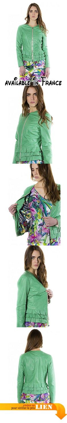 B06XVTD3ZH : D'Arienzo - F105BL  couleur verte clair  veste rouches en cuir aspect vintage - XS Vert.