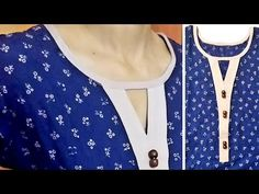 Very Easy Key Hole Neck With V Placket Cutting and Stitching/V Placket ब. Blouse Back Neck Designs, Chudidhar Neck Designs, Churidhar Designs, Neck Designs For Suits, Designs For Dresses, Blouse Designs, Designer Blouse Patterns, Dress Sewing Patterns, Clothing Patterns