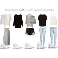 Kylie inspired outfits + white converse high tops by kylieinspired on Polyvore featuring MINKPINK, MANGO, Glamorous, H&M, Topshop and Converse