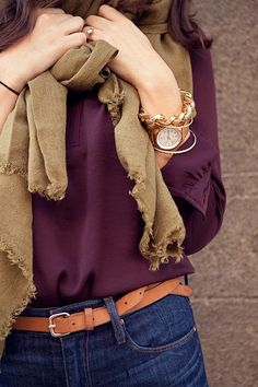 Recipe for a great outfit :)    1. Combine one pair of jeans & a great solid color blouse  2. Next wrap a great scarf around your neck  3. Finally, top it all off with great accessories. Gold & silver accents are always classic :)