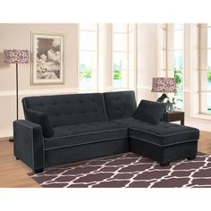 Jacqueline Fabric Sofa Chaise Convertible Bed - Gray  sc 1 st  Pinterest : sofa chaise convertible bed - Sectionals, Sofas & Couches
