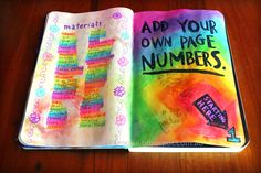 Add your own page numbers, wreck this journal ideas