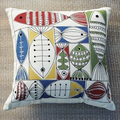 """""""Indoor/Outdoor School of Fish Pillow . at West Elm (Smaller Fish Block pillow also available)"""" Outdoor Cushions And Pillows, Throw Pillows, Outdoor Pillow, Couch Pillows, Sofa, Outdoor Fabric, Accent Pillows, Fish Pillow, Fish Crafts"""