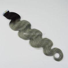 Ombre Tape Hair Extensions 1b Grey FROM #fashionhairqd#