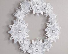 Paper Snowflakes Wreath Snow White Winter Wreath Silver Holiday Wedding Decor