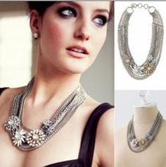 2014 Free shipping SD Retro Antique Crystal Glass Stone Rhinestone Wedding Party Statement Brass Bib Necklace Choker $24,75