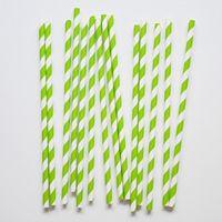 25 pailles en papier à rayures vert kiwi
