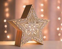 Star Night Light Laser Cut Wood Lantern Wooden by LightingBySara