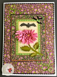 A touch of Halloween to this autumn Chrysanthemum card created by Susan Tierney-Cockburn of Susan's Garden Club - using Garden Notes - Chrysanthemum, CountryScapes - Critters 4, Els van de Burgt Studio - Circles, Shimmer Sheetz, and Peel-Off Stickers. Use Susan's Garden Club Tool Set, Leaf Pad, and Molding Pad to create your Chrysanthemum. Find the supplies here: http://www.elizabethcraftdesigns.com/