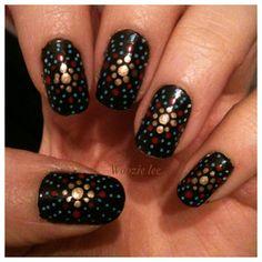 Dot, summer, firework nail art