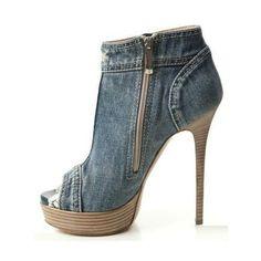 Women's Fall and Winter Fashion Ankle Booties Blue Denim Lace Peep Toe Platform Pumps Heels Fall Outfits 2017 Fall Fashion 2017 Homecoming Dresses Shoes for Night club, Dancing club   FSJ