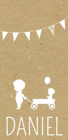 Geboortekaartje broertje - kraftlook met een lief silhouette