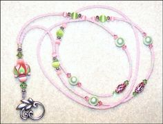 Candy  glass beaded lampwork ID badge lanyard by llanywynns, $15.00