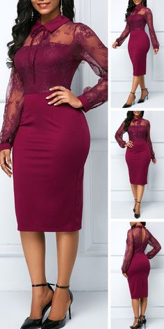 Back Slit Lace Patchwork Sheath Dress .Give your wardrobe pretty dress from Rotita.This burgundy dress is paired with lace patchwork design for a statement style thats all kinds of festive.Huge selection with new styles added every day. Elegant Dresses, Pretty Dresses, Sexy Dresses, Beautiful Dresses, Dress Outfits, Fashion Outfits, Dress Up, 50s Dresses, Work Outfits